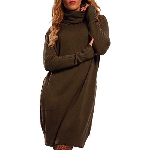 Damen Oversize Strickkleid Long Pullover mit Rollkragen , Farbe:Khaki;Größe:One Size
