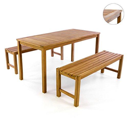 DIVERO Gartenmöbelset Picknickset Teakholz Bank Tisch Sitzgruppe Gartenset 3 teilig 1 Tisch 2 Bänke aus Teak