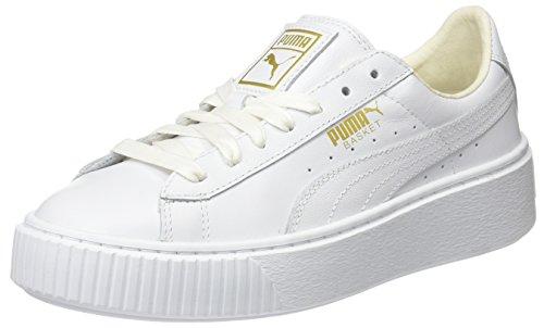 Puma Damen Basket Platform Core Sneaker, Weiß (White-Gold), 40.5 EU (Weiß Gold Schuhe)
