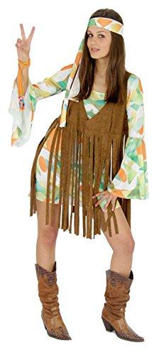 Foxxeo 40137 |70er Jahre Kostüm mit Fransen Weste Hippie Damen Kleid Damenkostüm , - Hippie Weste Kostüm