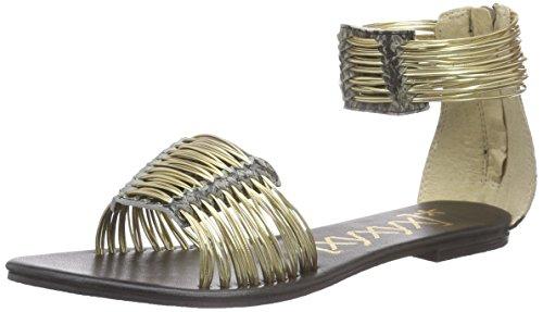 xyxyx - Sandale, Scarpe col tacco con cinturino a T Donna Oro (Gold (gold))
