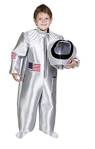Astronaut Kostüm Silber für Kinder 7-9 Jahre - Tolles Weltraum Kostüm für Jungen und (Kostüm Cowboy Space)