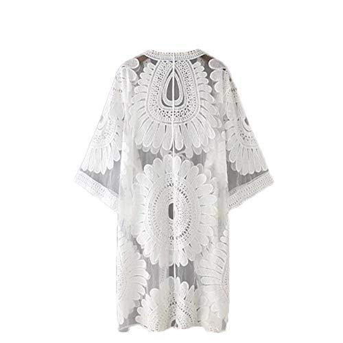 Eghunooye Damen Crochet Kimono Cardigan Bikini Cover Up, Vorzüglich Spitzen Strandpocho Kaftan Strandkleid,Boho Beachwear Kleid für Urlaub Strand (Weiß, Einheitsgröße) -