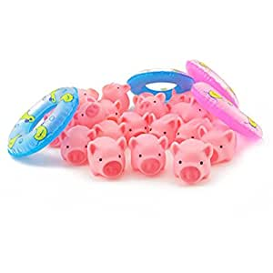 toymytoy rubber pink pig baby bath toys with 4 mini swim rings fun kids bathtime toys. Black Bedroom Furniture Sets. Home Design Ideas