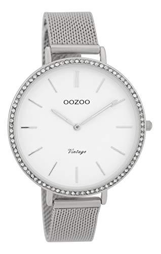 Oozoo Vintage Strass Damenuhr Metallband 40 MM Weiß/Silberfarben C9395
