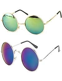 Younky Unisex Combo Offer Pack Of UV Protected Round Stylish Mercury Sunglasses For Men Women Boys & Girls ( RDGM-RDBM...
