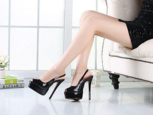 HeiSiMei Women's Heels / Komfort Leder / Stiletto Heel / Fisch Mund Schuhe / Dicke wasserdichte Plattform / Nightclub / Party & Abend / Pseudo-Mutter High Heels / Männer / Unisex BLACK-44