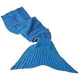Monsterzeug Meerjungfrau Decke, Meerjungfrauflosse Kuscheldecke, Mermaid Blanket, Häkeldecke, Schlafsack Gestrickt, kuscheligweich und hält Warm, Blau, 180 x 90 cm