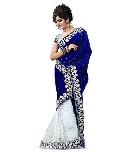 White World women\'s Blue colour velvet and net saree with blouse piece (chandani Blue)...