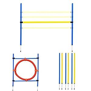 Agility sport pour chiens équipement complet : 6 poteaux slalom, obstacle, anneau + sac de transport bleu jaune rouge 06