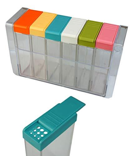 6er Gewürzstreuer Set aus Kunststoff | Küchenhelfer | Gewürzgläser | Vorratsgläser | Salzstreuer | Gewürzdosen für die Küche | Gewürzboxen | Gewürzaufbewahrung | Gewürzbehälter | Vorrats Box Set