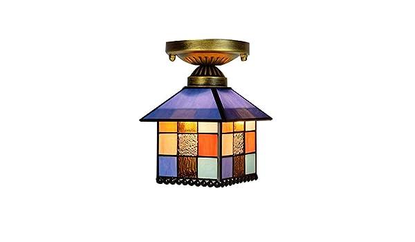 Plafoniere Stile Tiffany : Plafoniera in stile tiffany da pollici vetro colorato