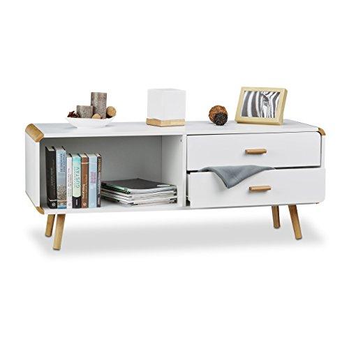Relaxdays Sideboard Abgerundet mit 2 Schubladen, Langes Lowboard mit Beine, Flache TV-Bank HxBxT 48...