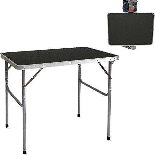 AMANKA Table de camping pique-nique foire aux puces 80x60x70cm en acier 3Kg pliant format mallette Gris Foncé