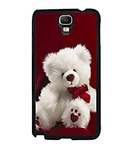 Fuson Premium 2D Back Case Cover Cute Teddy With blue Background Degined For Samsung Galaxy Note 3 Neo N7505