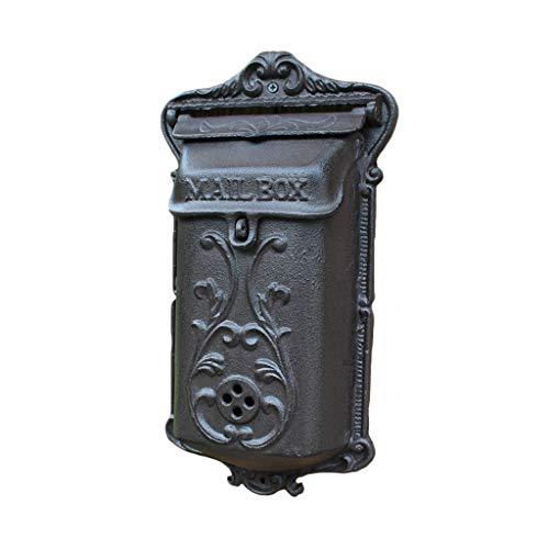 GXF Europäische Retro Nostalgie Gusseisen Handwerk Mailbox Heavy Duty Outdoor Wand Vorschlagsbox Hausgarten Villa Tür Briefkästen mit Sichtfenster Briefkästen, 20,5x8x37cm