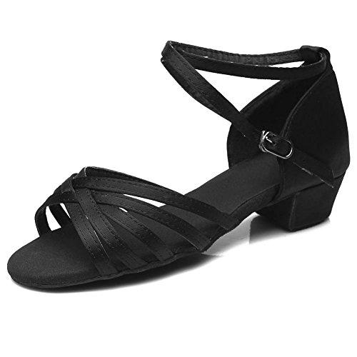 SWDZM Donna Scarpe da ballo/Scarpe da ballo latino standard Raso Ballroom Model-IT-202 Nero 32 EU