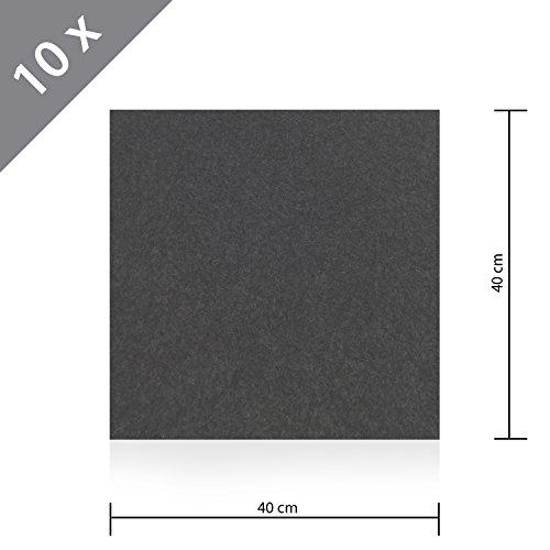 10 x HSM Teppichfliese Nadelfilz Bodenbelag selbstklebend für Treppe, Kinderzimmer oder Küche 40cm x 40cm ANTHRAZIT (10x10 Teppiche)