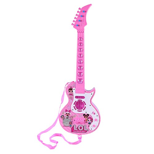 MRKE Ukelele Guitarra Electrica Niños 4 Cuerdas Ajustable Guitarra Juguete con LED y 8 Música