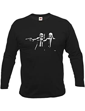 Banksy Star Wars Pulp Fiction da uomo a maniche lunghe T-Shirt Nero