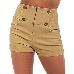 SS7 Clothing Pantalón corto - Cintura Alta - para mujer Beige piedra 36