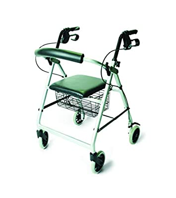 Days 252 Essentials Lightweight Aluminium Rollator with Padded Seat and Underseat Basket, Height Adjustable Handles & Back Support, Folds for Storage, Silver Grey, (Eligible for VAT relief in the UK)