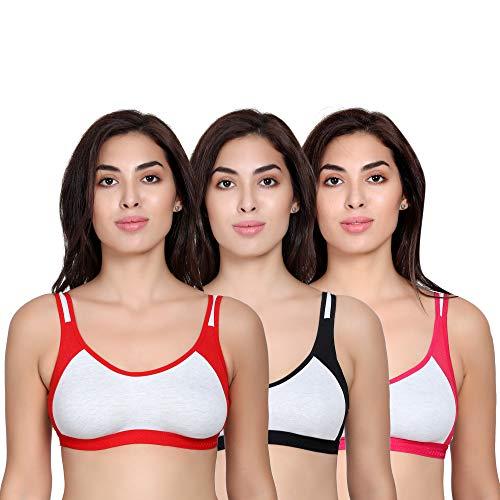 The Bra Man Women's Cotton Workout High Impact Sports Bra (Multicolour, 32) - Combo Set of 3