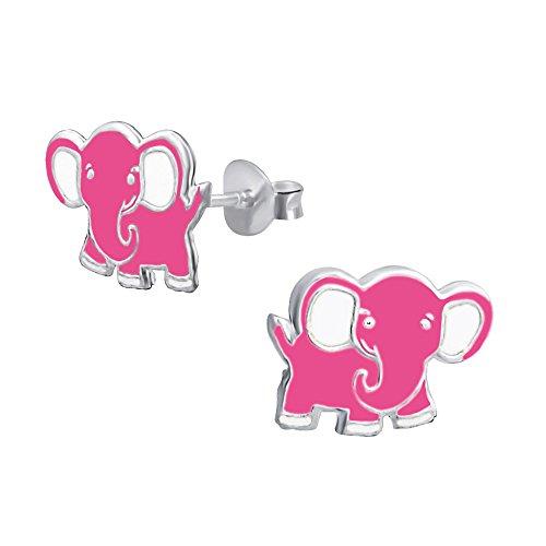 Laimons Kids Pendientes para niña Elefante Rosa Plata de ley 925