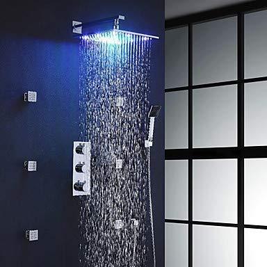 YZ-YUAN Zeitgenössische, an der Wand montierte, handeingeschlossene, weit verbreitete, thermostatische LED mit Messingventil und DREI Griffen und neun Löchern - Thermostatische Wall