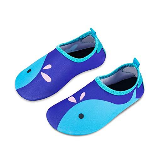 Kinder Badeschuhe Wasserschuhe Strandschuhe Schwimmschuhe Aquaschuhe Surfschuhe Barfuss Schuh für Jungen Mädchen Kleinkind Beach Pool(Blau 24 25)