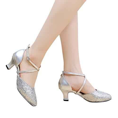 LILIGOD High Heels Dance Schuhe Damen Lateinische Tanzschuhe Student Weiche Unterschuhe Latin Dance Shoes Teens Prinzessin Sandalen Sommer Strandschuhe Outdoor Sandals Pumps Flared Ballroom -