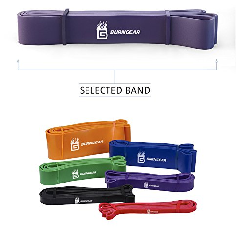 Burngear - fascia di resistenza, per allenarsi, alta qualità | fascia elastica per allenamento crossfit  - aiuta ad allungare in maniera naturale i muscoli - unisex, in lattice di gomma, per powerlifting / yoga / mobilità / trazione alla sbarra, con guida per gli esercizi (lingua italiana non garantita), purple, 3.2cm width, 18-36kg