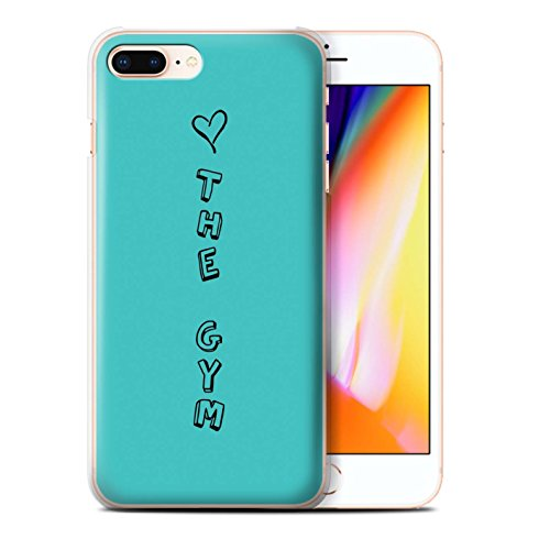 Stuff4 Hülle / Case für Apple iPhone 8 Plus / Blau/Liebe Wein Muster / Herz XOXO Kollektion Blau/Liebe Turnhalle
