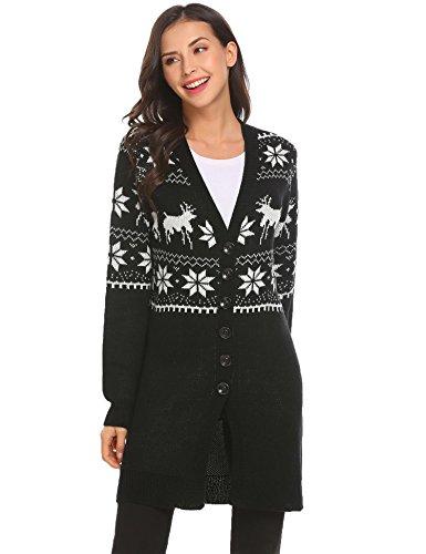 Damen Herbst Winter Weihnachtspullover Strickpullover Lang Cardigan Strickmantel im Weihnachts-Look PAT1