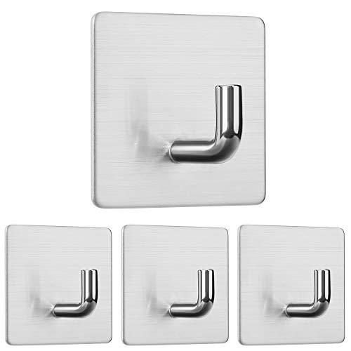 DeYoun Handtuchhaken 4 Stück - Selbstklebende Handtuchhalter 3M ohne Bohren für Bad, Küche und Kleiderhaken aus gebürstetem Edelstahl - Geschirrtuchhalter Mantelhalter