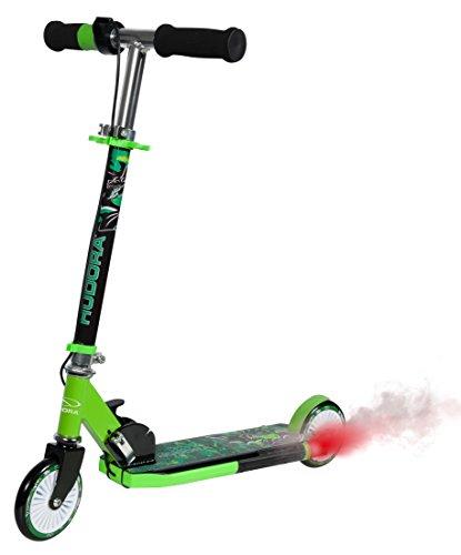 HUDORA Street Dragon, grün, Kinder-Roller, Scooter Kinder mit Motor Sound und Rauchschwaden, 120 mm, 14936