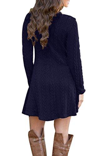 YMING Damen Pullover Kleid A-Line Strickkleider Langarm Winter Kleid Dunkel Blau