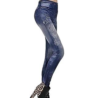 Amybria Women's Slim Leggings Jeggings Skinny Denim Trousers Blue