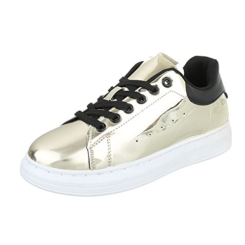Low-Top Sneaker Damenschuhe Low-Top Sneakers Schnürsenkel Ital-Design Freizeitschuhe Gold AB-25