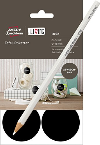 Avery Zweckform 62017 Living Tafel Etiketten, permanent haftend, abwischbar, rund, Ø 48 mm, 24 Stück, schwarz / Kombi-Set (Etiketten + Kreidestift)