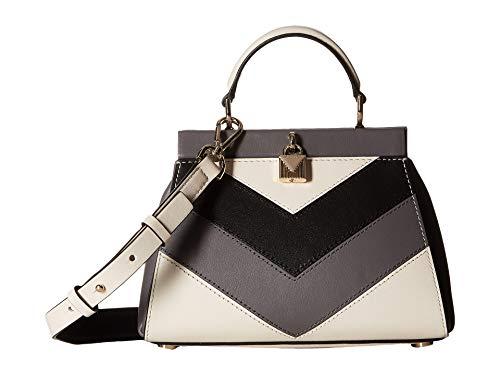 MICHAEL Michael Kors Gramercy Chevron Frame Top Handle Leather Satchel Bag, Grey White Gold