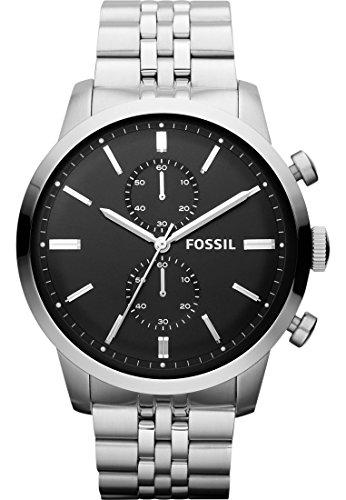 Fossil Herren-Armbanduhr Townsman Analog Quarz One Size, schwarz, silber