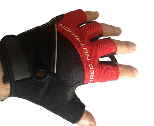 Mammoth XT Fingerlose Gel Gepolsterte / Stoßdämpf Technologie Handschuhe - Gewichtheben / Radfahren / Rudern / Training Fäustlinge - L Rot