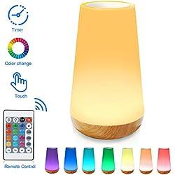 Luz Nocturna de LED, Lámpara de Mesita de Noche, Control Remoto, Control Tactil, Temporizador, Regulable, USB Recargable, Cambio de Colores, para Niños, Habitación, Cámping