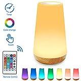 HONYAO Veilleuse LED, Lampe de Chevet Colorée à 360°, Lampe Nuit Rechargeable avec Toucher Luminosité Ajustable Télécommande pour chambre à coucher, chambre d'enfant, et salon