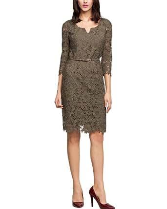 Comma Damen Kurz Kleid, 81.403.82.2820 Einfarbig, GR. 44 (Herstellergröße: 44), Braun (Khaki)