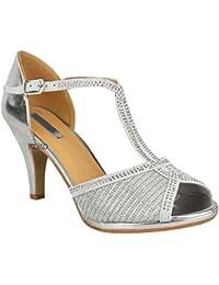 Mujeres Damas Para Novia Zapatos Graduación Tacón Alto Diamante Sandalias  ... 4716bde583ab