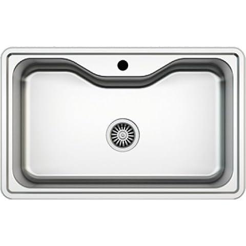 Évier/ lavabo Mizzo Sino 600 - évier de cuisine acier inoxydable - 1 bac - grand lavabo de cuisine carré - montage à encastrer - inox brossé