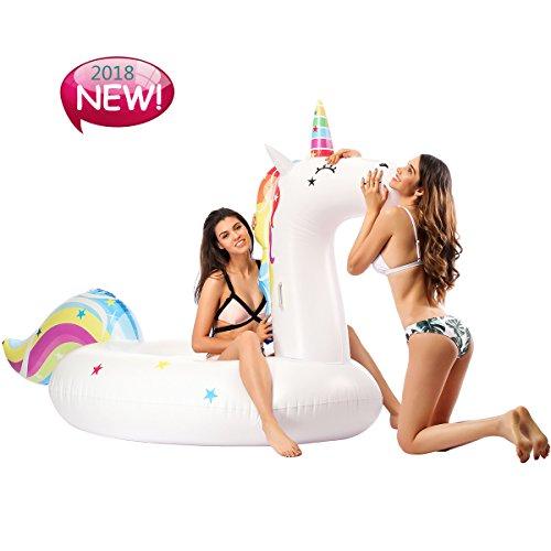 KIWISE Flotador Inflables Piscina de colchón de Aire Unicornio Hinchable Piscina balsa PVC niños Flotante Inflable Cama Juguete con válvulas rápidas Gigante Adulto