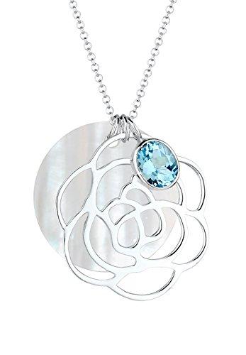 Elli Damen-Kette mit Anhänger Blume, Perlmuttscheibe 925 Silber Topas Brillantschliff blau   70 cm - 0112552214_70